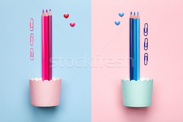 Color lápices pastel rosa azul mínimo Foto stock © Bozena_Fulawka