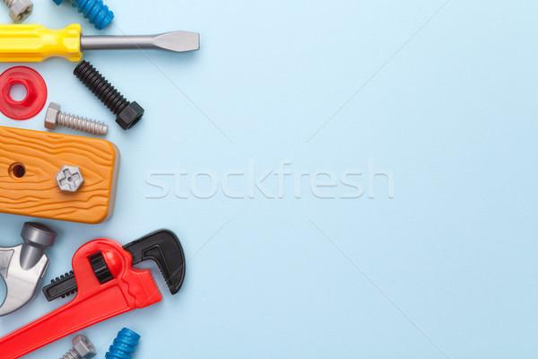 Speelgoed tools Blauw exemplaar ruimte top Stockfoto © Bozena_Fulawka