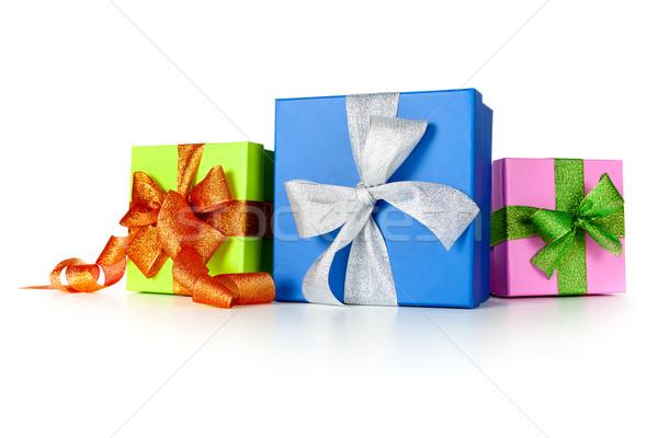 Ajándékdobozok íjak fehér vásárlás kék ajándék Stock fotó © Bozena_Fulawka