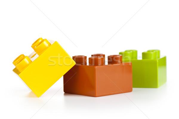 Stock fotó: építőkockák · műanyag · fehér · csoport · tömbházak · épület