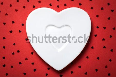 Koffiekopje vorm hart Rood papier top Stockfoto © Bozena_Fulawka