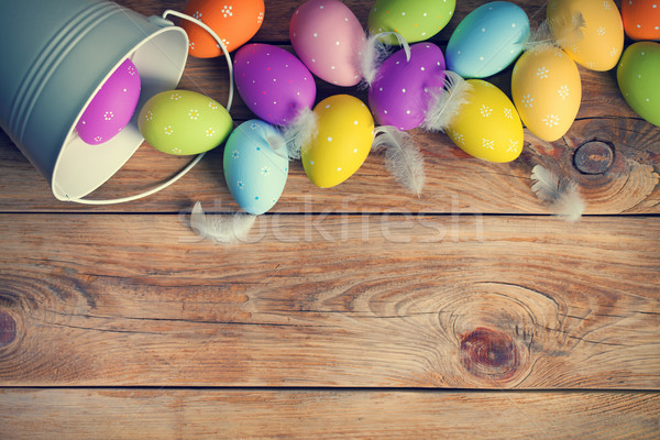 Easter Background with Easter Eggs Stock photo © Bozena_Fulawka