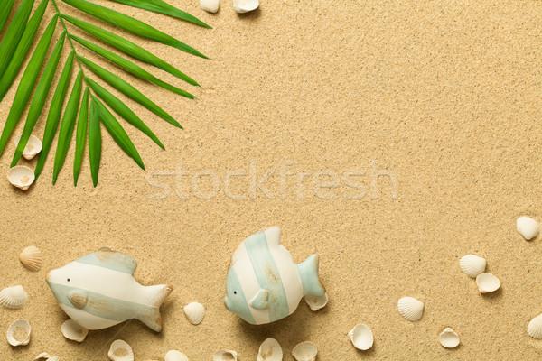 Nyár zöld pálmalevél hal kagylók tengerpart Stock fotó © Bozena_Fulawka