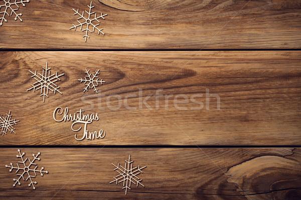 No l flocons de neige table en bois espace for Table vue de haut
