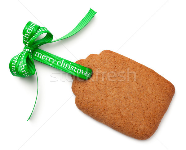Gingerbread Label Cookie with Ribbon Bow Isolated on White Backg Stock photo © Bozena_Fulawka