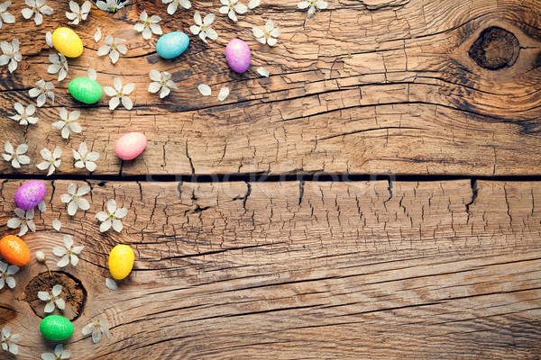 Easter Background with Blossom and Eggs on Wooden Table Stock photo © Bozena_Fulawka
