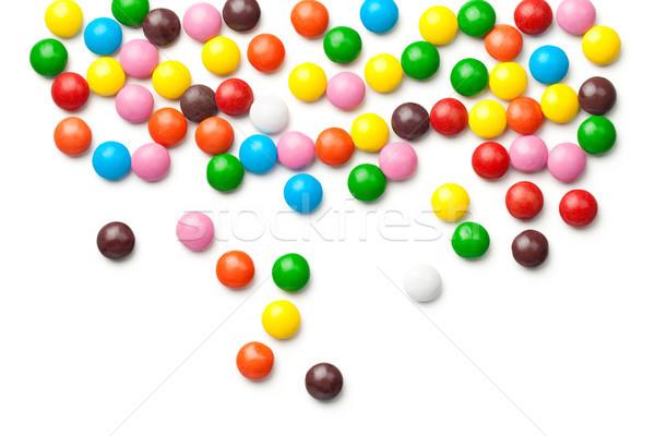 Colorful Chocolate Candy Pills Isolated on White Background Stock photo © Bozena_Fulawka