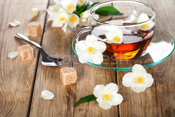 Thee kruid bloem houten tafel hout glas Stockfoto © Bozena_Fulawka