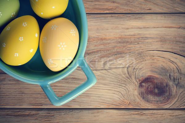 Pâques œufs de Pâques haut vue espace de copie fleur Photo stock © Bozena_Fulawka
