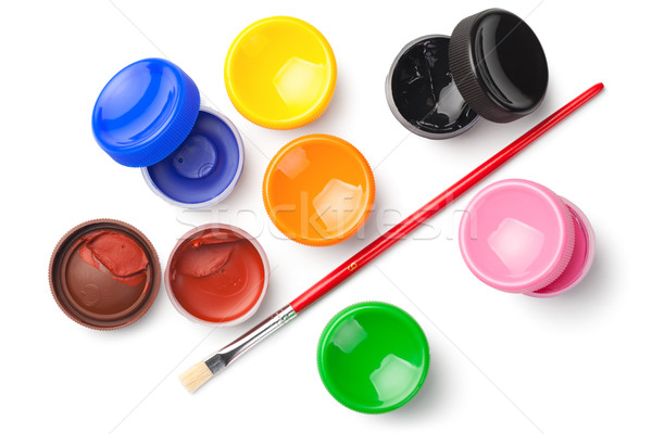 Stock photo: Gouache Color Paints with Paint Brush Isolated on White Backgrou