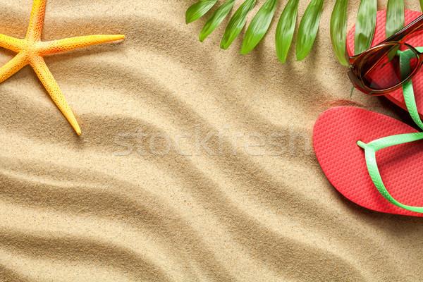 Nyári szabadság tengerpart tengerparti homok textúra copy space felső Stock fotó © Bozena_Fulawka