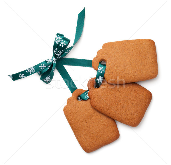 Gingerbread Label Cookies with Ribbon Bow Isolated on White Back Stock photo © Bozena_Fulawka