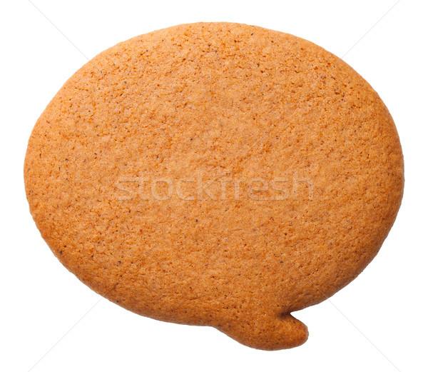 Peperkoek tekstballon cookie geïsoleerd witte top Stockfoto © Bozena_Fulawka