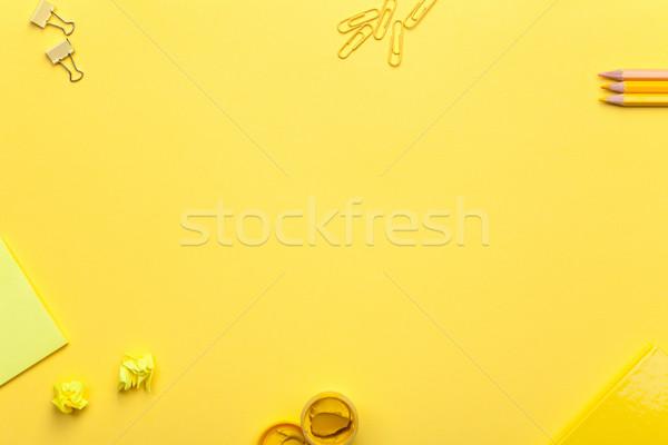 School Accessories on Yellow Background Stock photo © Bozena_Fulawka