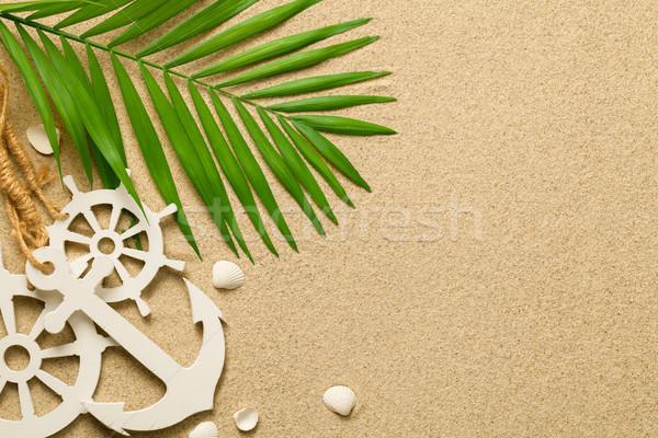 Summer Background with Green Palm Leaf, Decorative Anchor and Sh Stock photo © Bozena_Fulawka