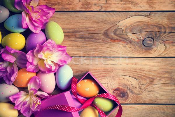 Пасху пасхальных яиц цветок деревянный стол Top мнение Сток-фото © Bozena_Fulawka