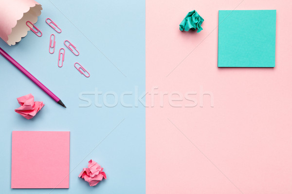 Sticky notes papier pastel bureau Photo stock © Bozena_Fulawka