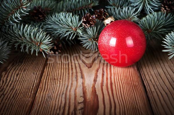 Christmas Rood bal houten zilver Stockfoto © Bozena_Fulawka