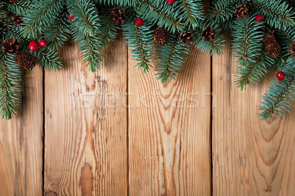 Christmas zilver sparren hout exemplaar ruimte Stockfoto © Bozena_Fulawka