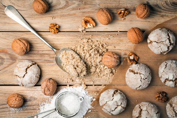 Cracked nut cookies on Wood Background Stock photo © Bozena_Fulawka
