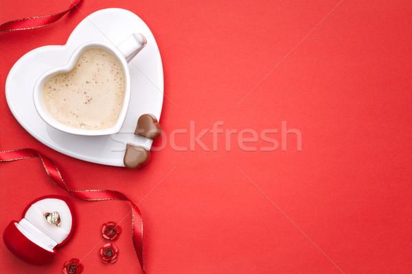 Sevmek bo üst görmek kahve kalp Stok fotoğraf © Bozena_Fulawka