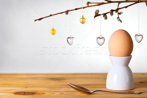 Easter egg Pasen ei houten geschilderd beige Stockfoto © Bozena_Fulawka