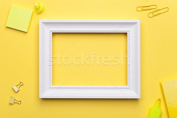 Witte frame kantoor Geel exemplaar ruimte Stockfoto © Bozena_Fulawka