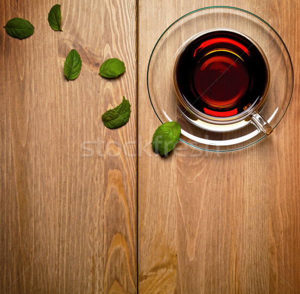 Tee mint Glas Tasse frischen Blätter Stock foto © Bozena_Fulawka