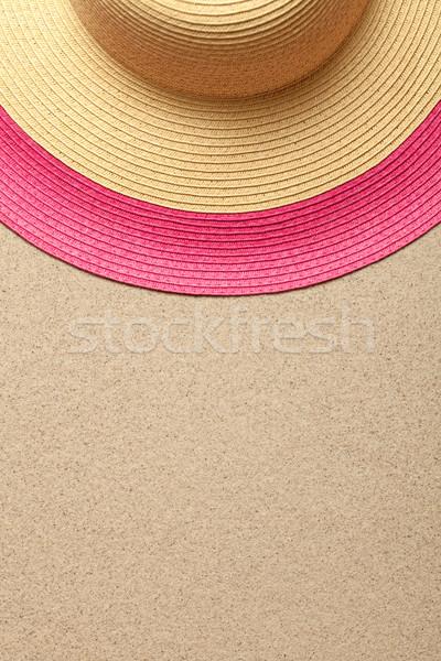 Nyár homokos tengerpart szalmakalap felső kilátás nap Stock fotó © Bozena_Fulawka