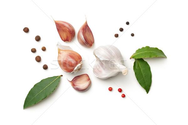 Garlic, Bay Leaves, Allspice and Pepper Isolated on White Backgr Stock photo © Bozena_Fulawka
