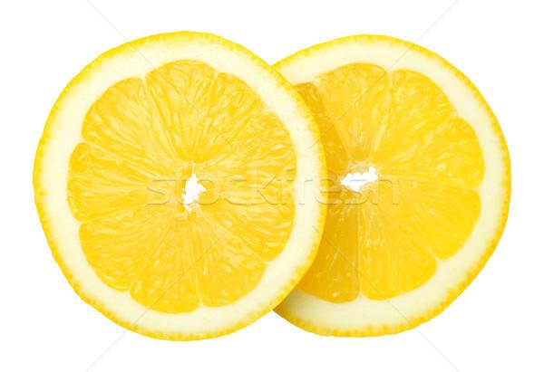 Slices of Lemon Fruit Isolated on White Background Stock photo © Bozena_Fulawka
