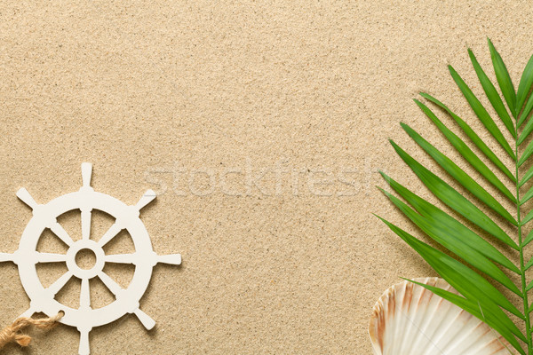 Nyár zöld pálmalevél dekoratív hajó kormánykerék Stock fotó © Bozena_Fulawka