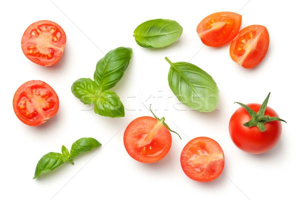Tomaten basilicum bladeren geïsoleerd witte top Stockfoto © Bozena_Fulawka