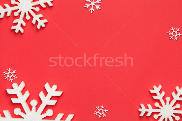 Karácsony hópelyhek piros papír copy space felső Stock fotó © Bozena_Fulawka