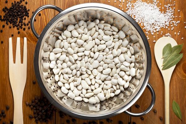 Stockfoto: Witte · bonen · specerijen · houten · tafel · voedsel · top