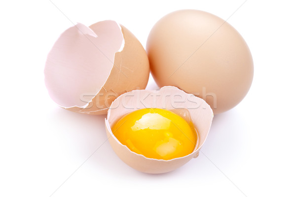 Tojások fehér tojás tojássárgája tojáshéj természet Stock fotó © Bozena_Fulawka