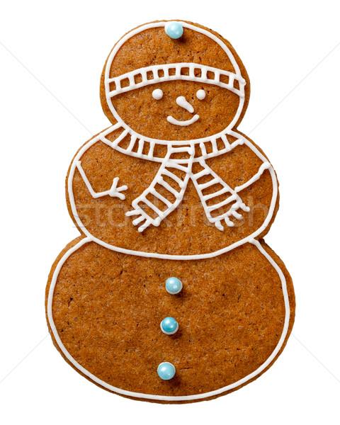 Christmas peperkoek cookie geïsoleerd witte sneeuwpop Stockfoto © Bozena_Fulawka