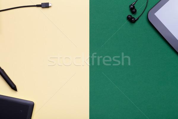 Grafikus tabletta digitális citromsárga zöld táblagép Stock fotó © Bozena_Fulawka