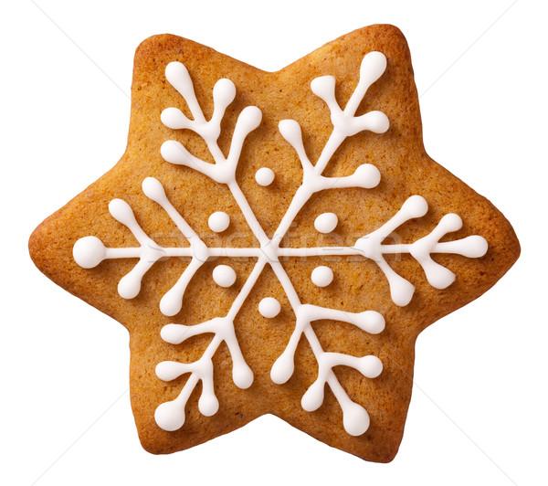 Сток-фото: Рождества · пряничный · звездой · форма · изолированный · белый
