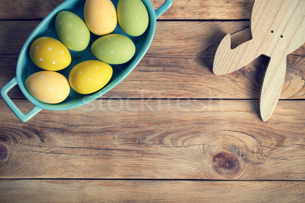 Easter Background with Easter Eggs and Bunny Stock photo © Bozena_Fulawka