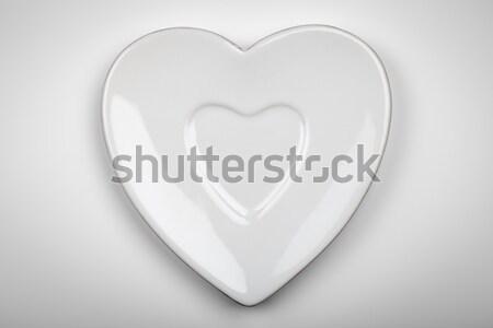Hart plaat vorm witte grijs top Stockfoto © Bozena_Fulawka