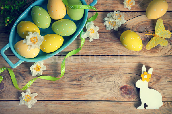 Húsvét húsvéti tojások felső kilátás copy space virág Stock fotó © Bozena_Fulawka