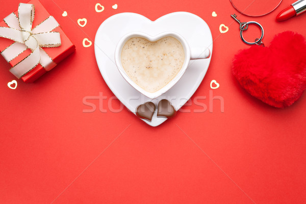 Valentijnsdag exemplaar ruimte top koffie hart Stockfoto © Bozena_Fulawka