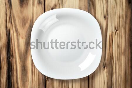 Plaat lege witte houten tafel top Stockfoto © Bozena_Fulawka