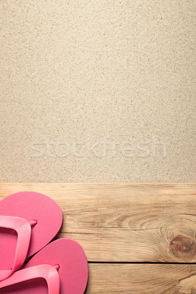 Nyár rózsaszín papucs homokos tengerpart természet tenger Stock fotó © Bozena_Fulawka