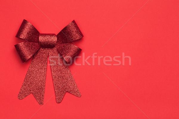 Christmas Rood boeg papier exemplaar ruimte top Stockfoto © Bozena_Fulawka