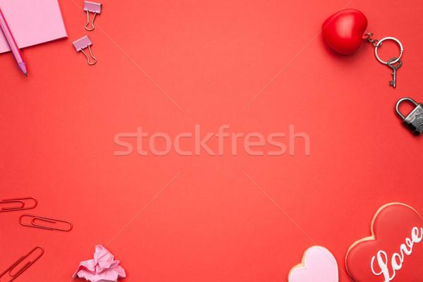 Valentin nap copy space felső kilátás nő lány Stock fotó © Bozena_Fulawka