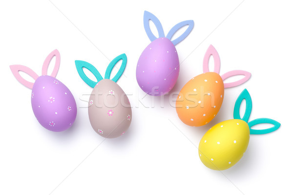 Huevos de Pascua vacaciones orejas aislado blanco superior Foto stock © Bozena_Fulawka