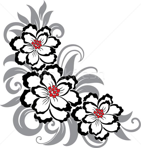 装飾的な フローラル 実例 美しい 花 葉 ストックフォト © brahmapootra