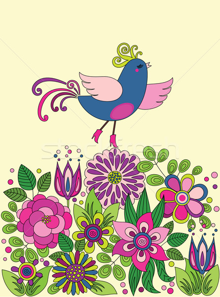 Decorative colorful funny bird on the flowers Stock photo © brahmapootra